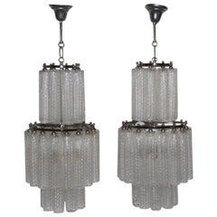 Pair of Venini Chandelier Tubes Murano Art Glass, 1960s Italian Design