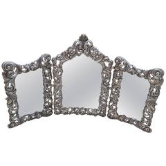 20th Century Italian Sterling Silver Triptych Mirror Baroque revival