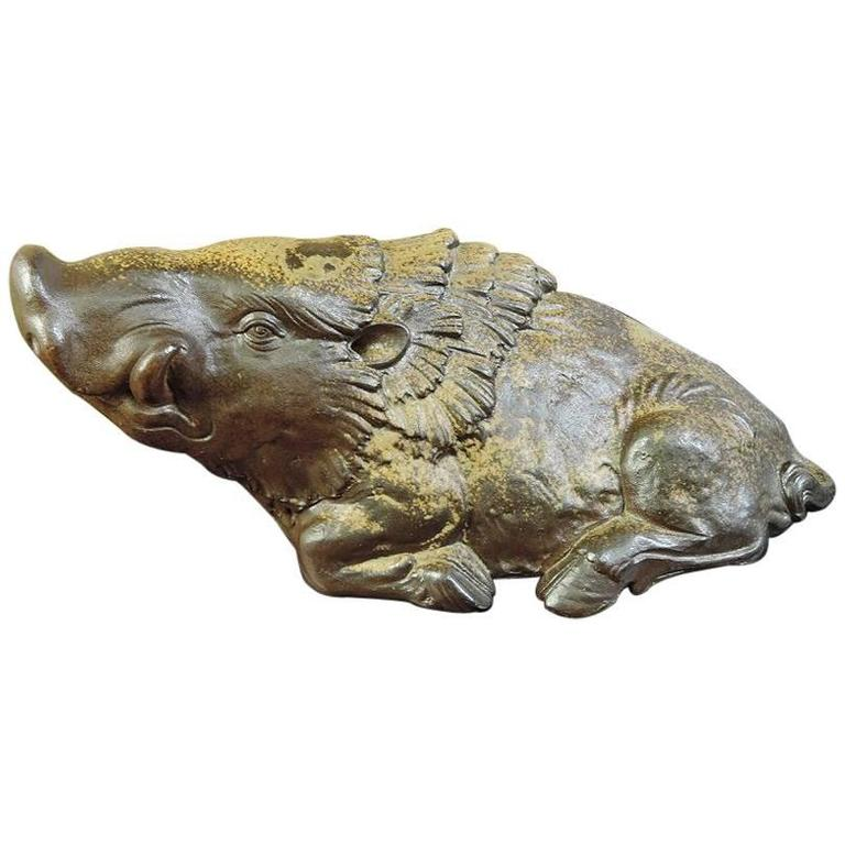Japan Big Charging Boar Sculpture Finely Finished Signed Mint and Boxed For Sale