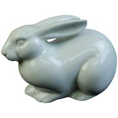 Japan Antique Rabbit Pure White Ceramic Crouching Signed, Mint and Boxed