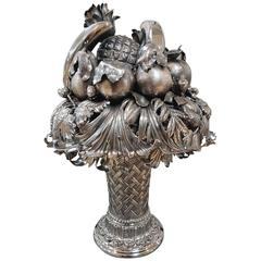 20th Century Italian Sterling Silver Fruit Triumph Centrepiece Vase