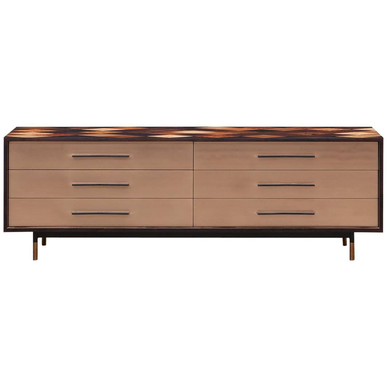 Contemporary Brown Wooden Sideboard by Johannes Hock 'e'