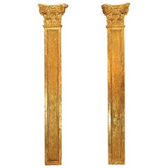 Pair of Early 18th Century Régence Carved Giltwood Pilasters