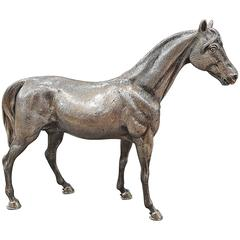 20th Century Italian Solid Silver Horse, engraved by hand. Made in Italy