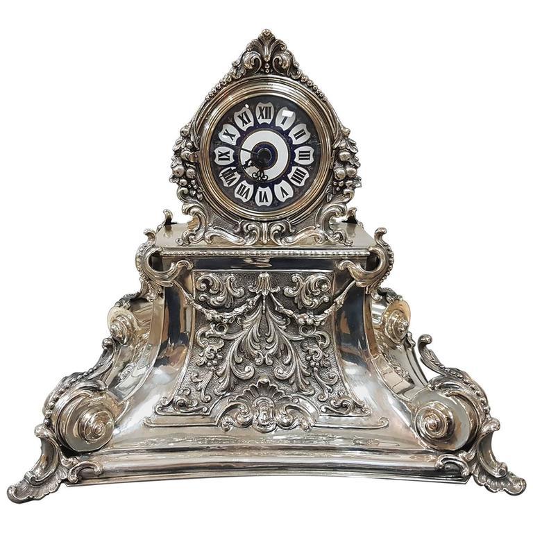 20th Century Italian Silver Table Clock Barocco revival