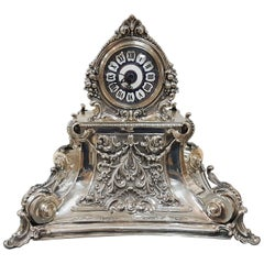 20th Century Italian Silver Table Clock Barocco revival