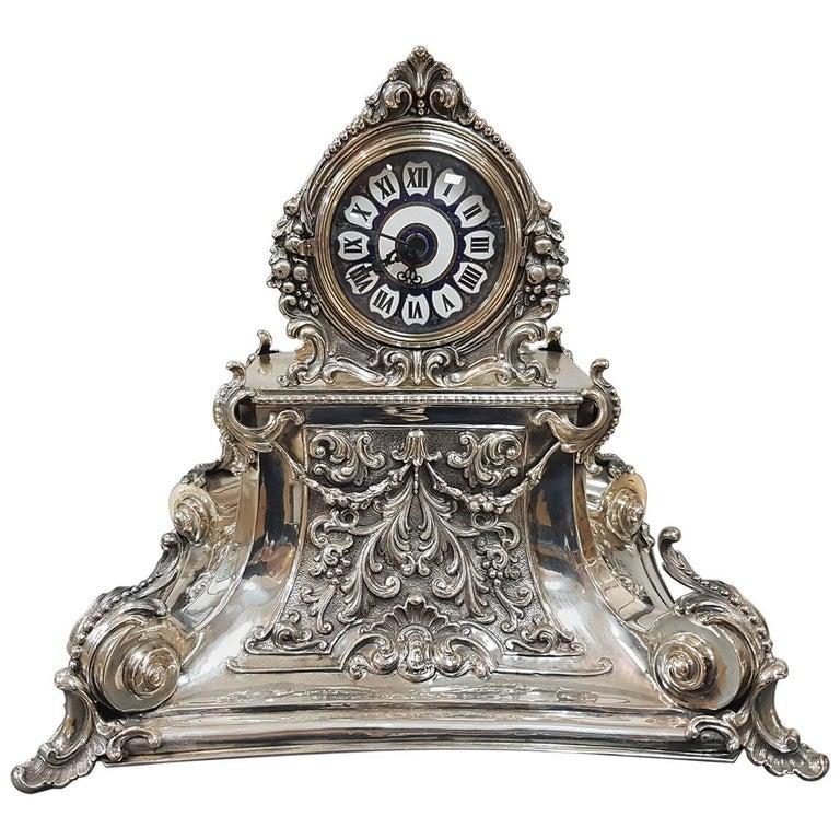 20th Century Italian Silver Table Clock Barocco revival  For Sale