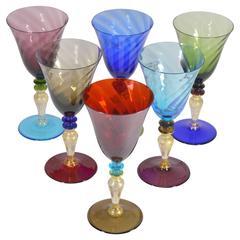 Set of Six Nason and Moretti Murano Color Drinking Glasses