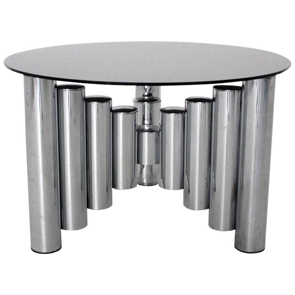 Mid Century Modern Vintage Chromed Glass Manhattan Coffee Table, 1960s