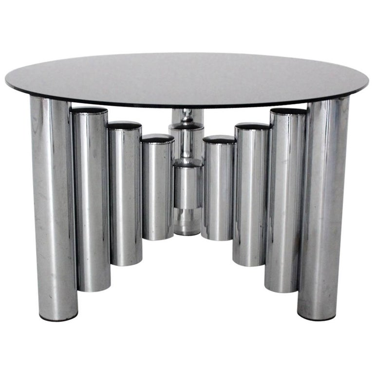 Mid Century Modern Vintage Chromed Glass Manhattan Coffee Table, 1960s For Sale