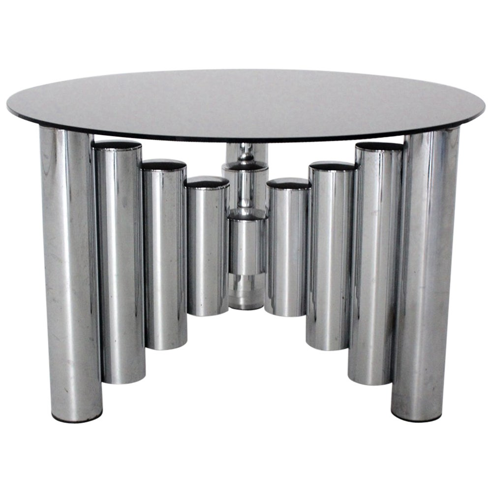 Mid Century Modern Vintage Chromed Glass Manhattan Coffee Table, 1960s