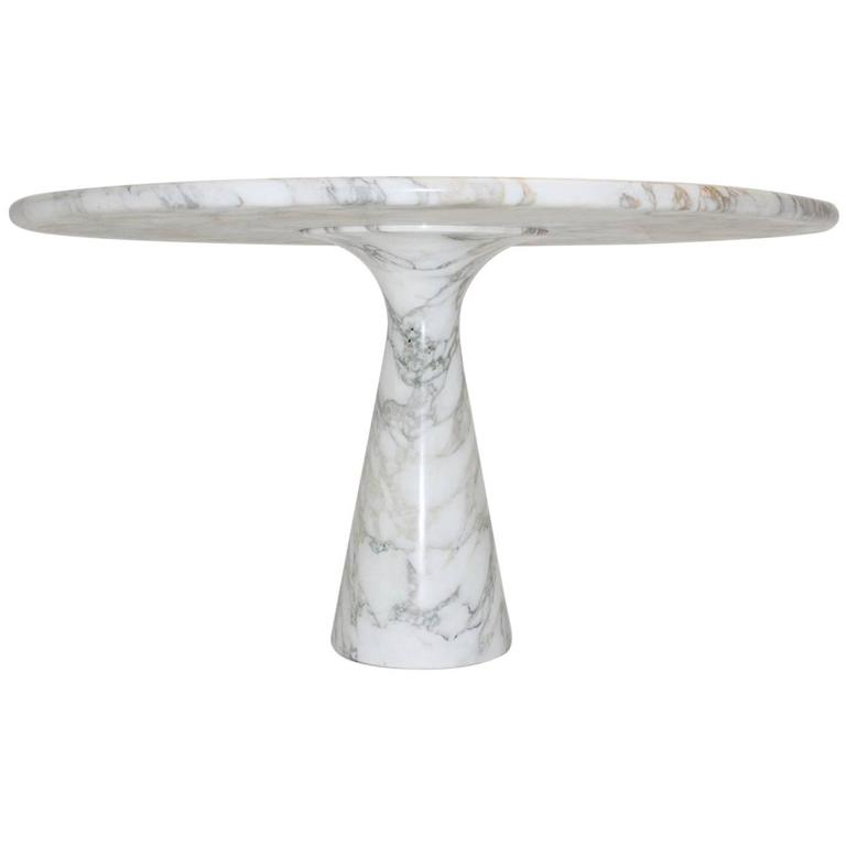 White Marble Dining Table by Angelo Mangiarotti T 70, 1969, Italy