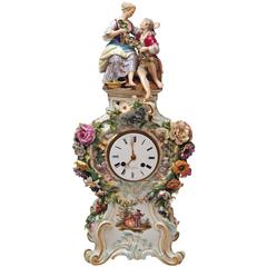 Meissen Mantle Table Clock Figurines Flowers Enamel Clockface made circa 1860