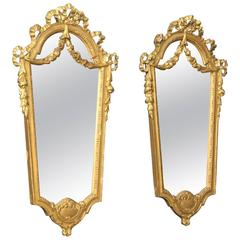 20th Century Pair of Italian Gilt Mirrors