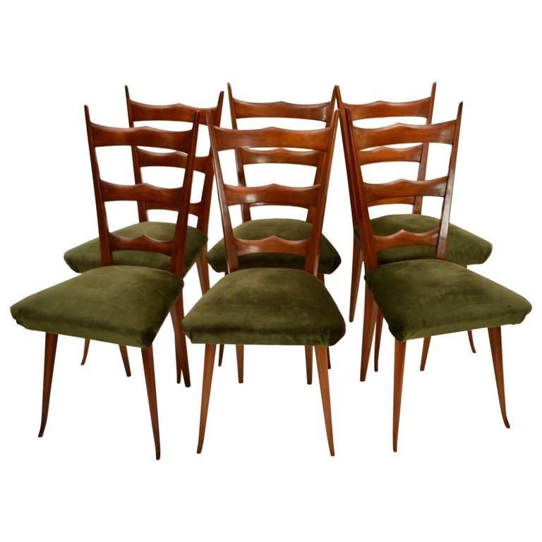 Exceptional Six Beechwood Chairs With Original Upholstery And Springs, Italy, 1950s 1