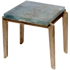 Contemporary Cupric Crystal Side Table in Cast Crystal and Bronze