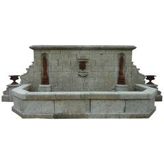 Wonderful 19th Century Stone Fountain with Cast-Iron Dolphins & Medicis Vases