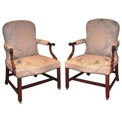 Pair of Mid-18th Century Mahogany Gainsborough Armchairs