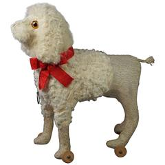 19th Century French Poodle Dog Pull Toy with Squeaker Yapper, circa 1890