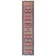 Unique and Colorful Turkish Oushak Runner with Intricate Geometric Pattern