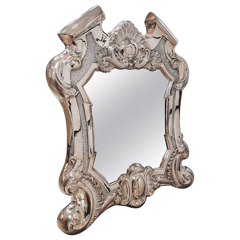20th Century Italian Silver Baroque Revival Table Mirror,  Velvet Back  For Sale