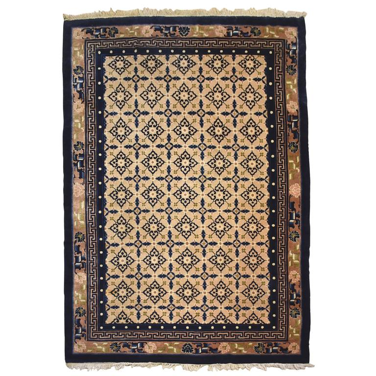 Blue And White Chinese Rugs: Chinese Oriental Hand Tied Rug, 10 Ft By 6.8 Ft, Cream And