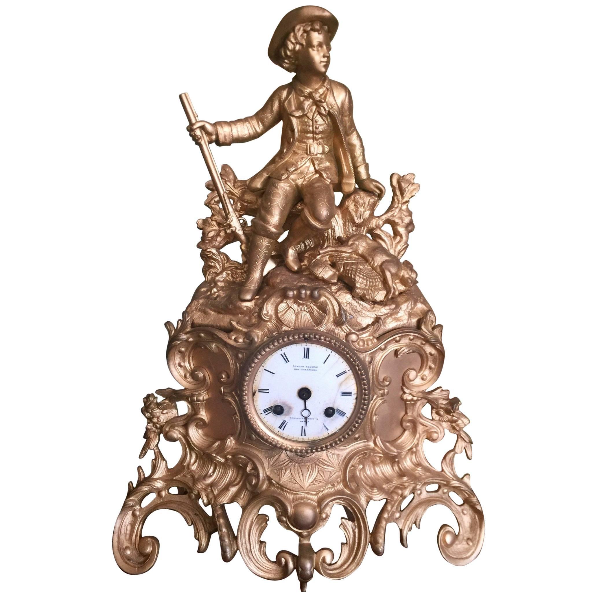 Late 19th Century Victorian Gilt Metal Mantle Clock Signed Conrad Felsing