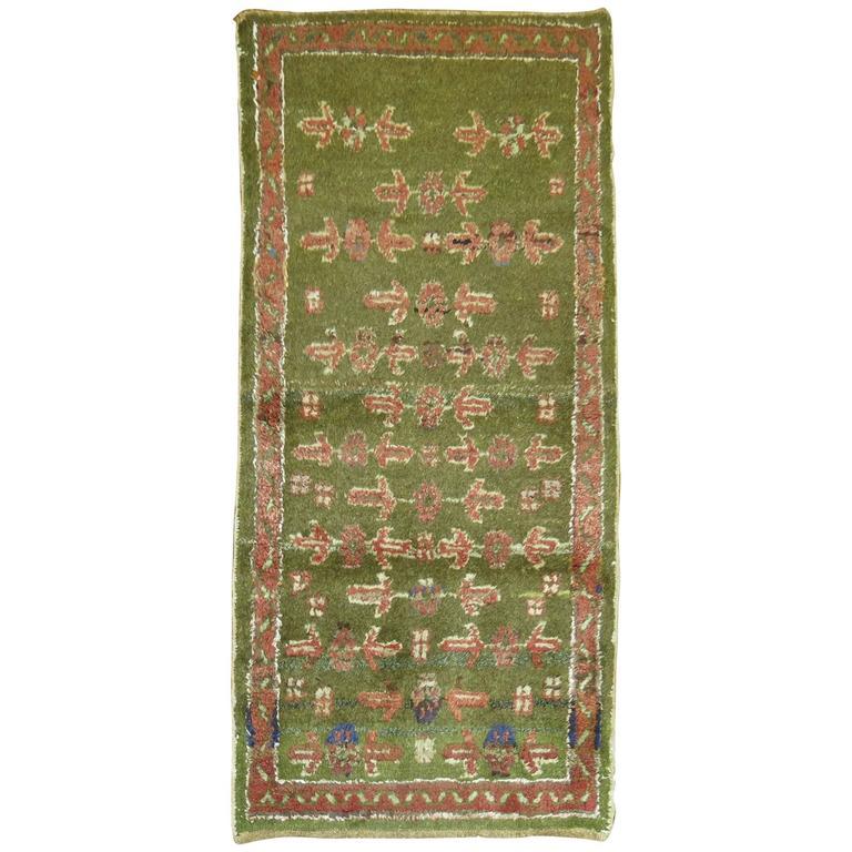 Green Vintage Turkish Oushak Rug For Sale At 1stdibs