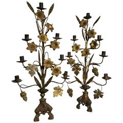 Pair of French Bronze and Brass Wheat and Grape Harvest Candelabra