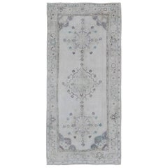 Turkish Oushak Rug with Botanical Design in Tones of Gray, Ivory and Blue
