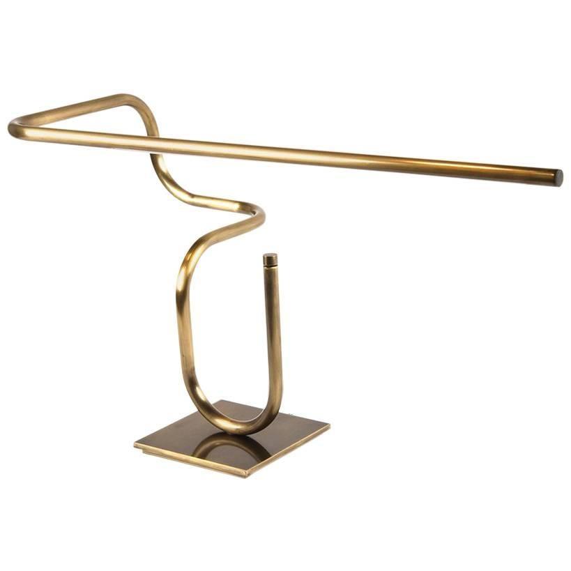 Tube Desk/Table Lamp, Handmade in Brass by Christopher Gentner