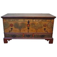 Pennsylvania Polychrome-Painted Poplar Dower Chest