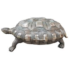 20th Century Italian Silver Turtle. Embossed, ceased, burnished and gilted