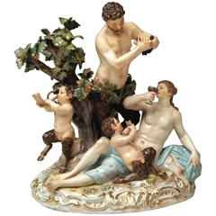 Meissen Bacchanal with Faun Model D 63 by Michel V.Acier, Made circa 1860