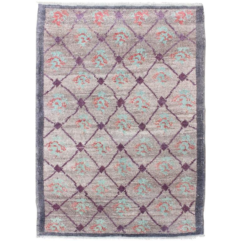 Purple And Lavender Rug: Turkish Tulu Rug With Lavender, Purple, Gray, Mint Green
