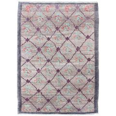 Turkish Tulu Rug with Lavender, Purple, Gray, Mint Green, Orange and Purple