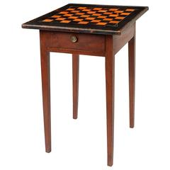 Red-Painted Game Table with Black and Red Checkerboard Top