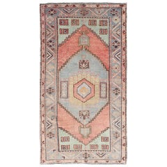 Vintage Turkish Oushak Carpet with Tribal Design in Orangish-Red, Green & Gray