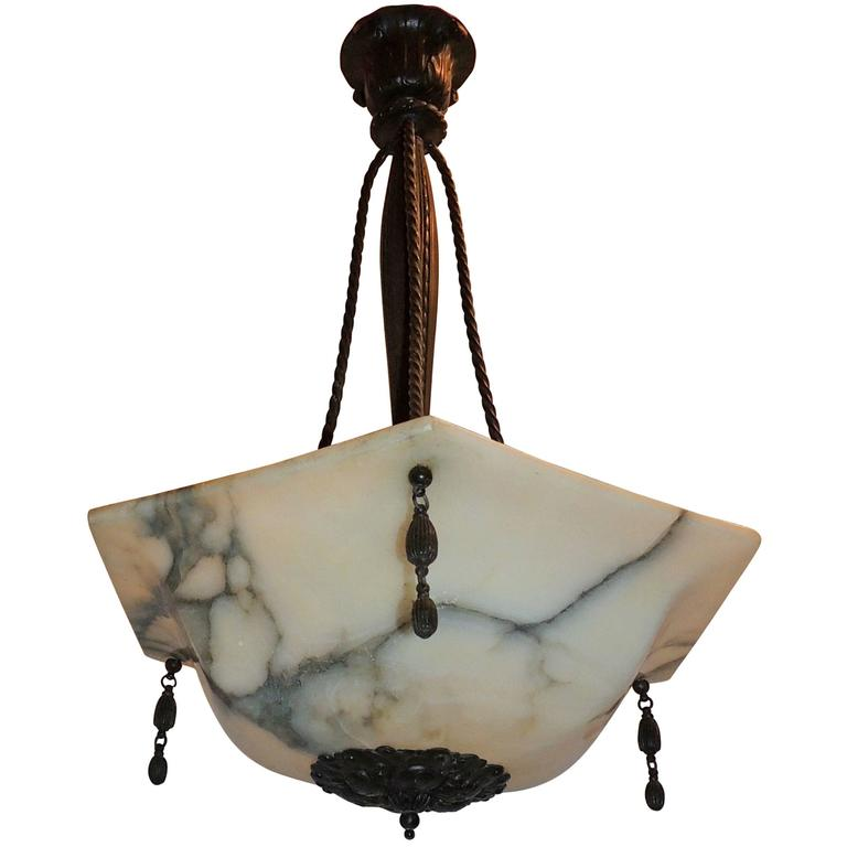 Wonderful French Art Deco Alabaster Patina Bronze Pendent Chandelier Fixture