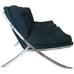 Pair of Polished Steel Lounge Chairs by Mueller, 1970s