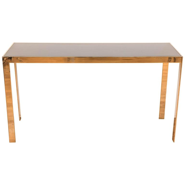 """Vintage American """"Brass"""" Parsons Style Console Table For Sale"""