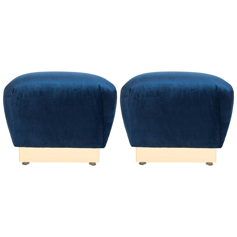 Pair of Vintage Poufs after Karl Springer 1
