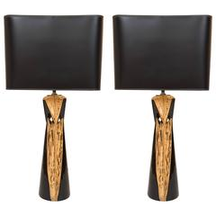 Vintage Pair of Black and Gold Hollywood Regency Table Lamps