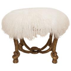 Napoleon III Style Stool in Gilt Finish with Lambs Wool Upholstery