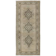Vintage Turkish Oushak Rug with Three Central Medallions in Taupe, Ivory & Gray