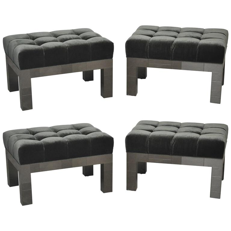 Paul Evans Cityscape Stools in Gunmetal Patchwork with New Mohair For Sale