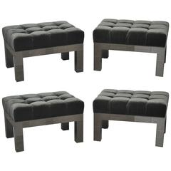 Paul Evans Cityscape Stools in Gunmetal Patchwork with New Mohair