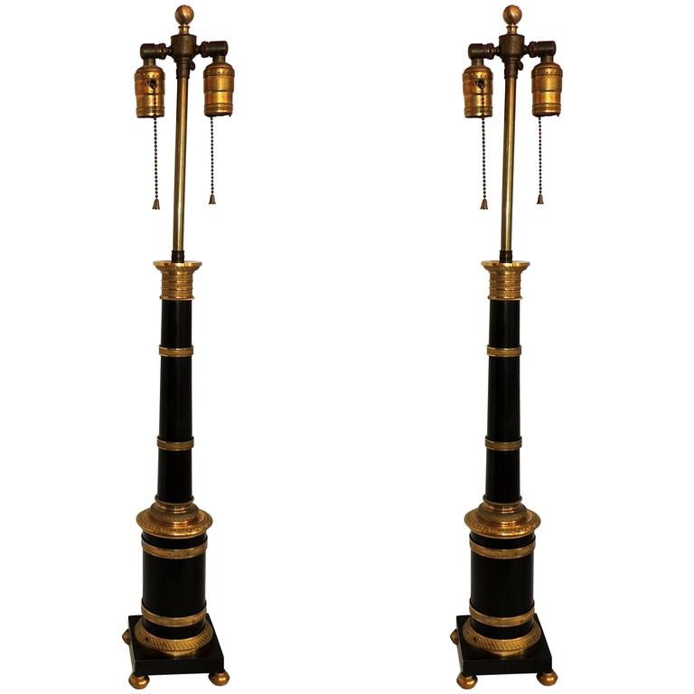 Wonderful Pair of French Empire Gilt Patina Bronze Neoclassical Regency Lamps