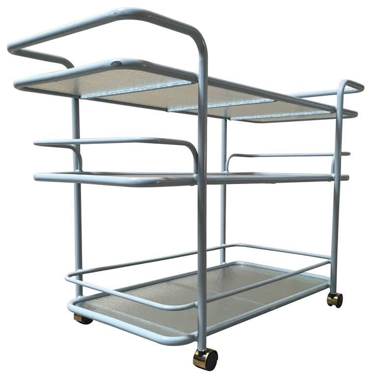 brown jordon mid century bar cart with pebble glass for. Black Bedroom Furniture Sets. Home Design Ideas