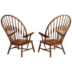 "Pair of ""Peacock"" Chairs by Hans Wegner for Johannes Hansen"